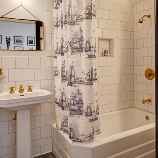 Bathroom - eclectic white tile and ceramic tile cement tile floor and gray floor bathroom idea in Seattle with a pedestal sink
