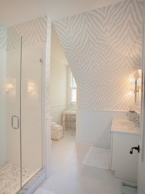 inspiration for a beach style white tile and subway tile alcove shower remodel in with