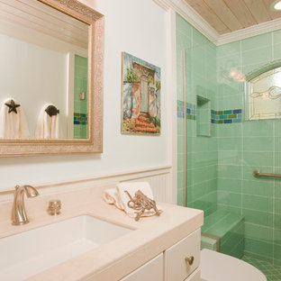 Alcove Shower   Beach Style Green Tile Porcelain Floor Alcove Shower Idea  In Los Angeles With