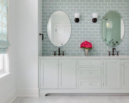 676 beach style bathroom design photos with blue tile - Beach Style Bathroom