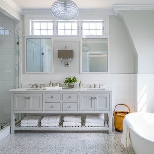 75 most popular traditional bathroom with gray cabinets