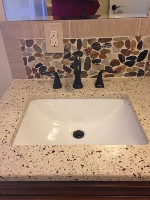 Transitional Bathroom Design Ideas Remodels Photos With Recycled Glass Countertops