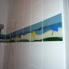 tropical bathroom by Designer Glass Mosaics
