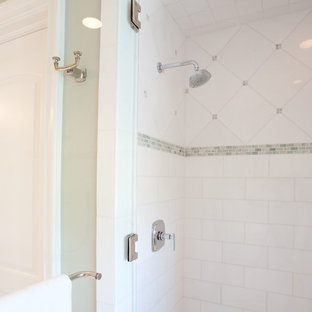 Alcove shower - large traditional 3/4 white tile alcove shower idea in Houston with green walls