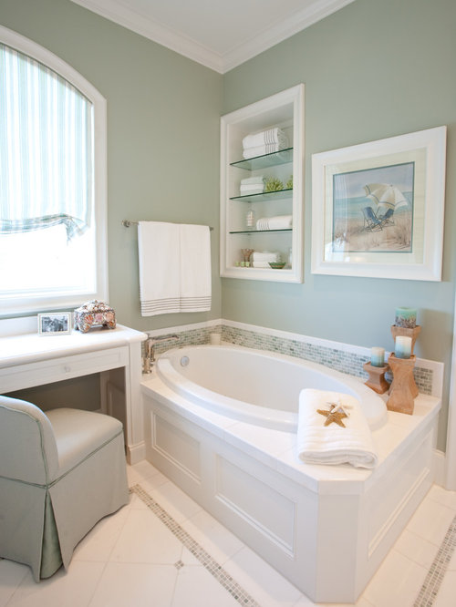 traditional white tile drop in bathtub idea in houston with white cabinets - Drop In Tub Framing