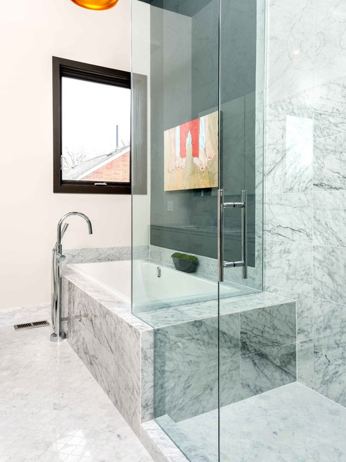 Inspiration For A Contemporary Gray Tile Bathroom Remodel In Toronto With White Walls