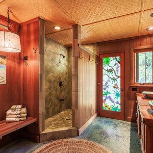 Idéer för orientaliska badrum, med träbänkskiva