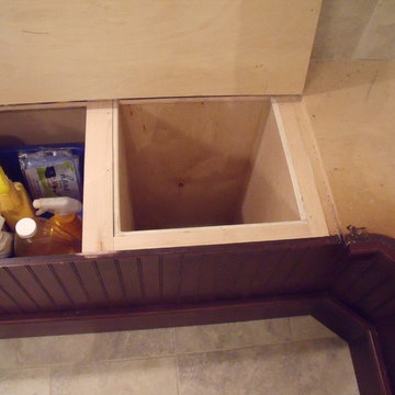 Bead board corner bench with built in laundry chute