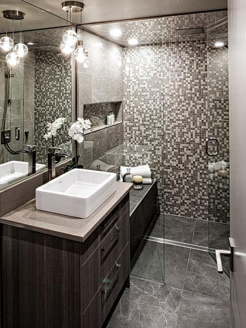 Salle d\'eau avec un carrelage noir et blanc Calgary : Photos et ...