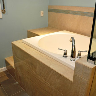 Large trendy master japanese bathtub photo in DC Metro with an undermount sink and dark wood cabinets