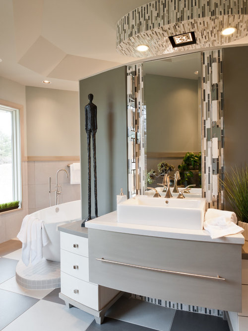 Inspiration For A Contemporary Freestanding Bathtub Remodel In St Louis  With A Vessel Sink