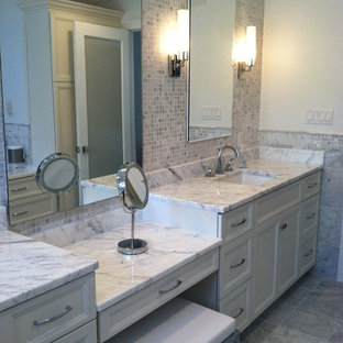 Inspiration For A Large Modern Master Gray Tile And Stone Tile Marble Floor  Bathroom Remodel In