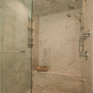 Transitional mosaic tile bathroom photo in Other