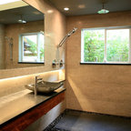 Beautiful Zen Bath River Rock Floor With Floating Bench Contemporary Bathroom Other By