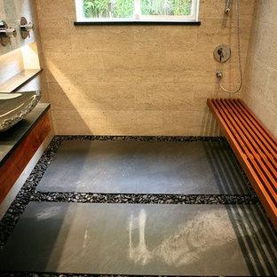 Mid Sized Trendy 3/4 Black Tile And Stone Tile Limestone Floor Doorless  Shower