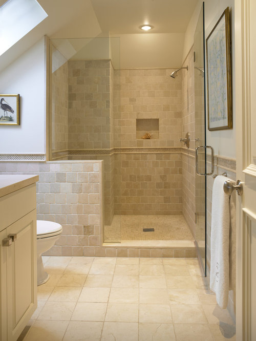Travertine shower houzz for 7 x 4 bathroom designs
