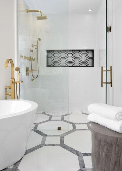Transitional Bathroom by Erica Gelman Design Inc.