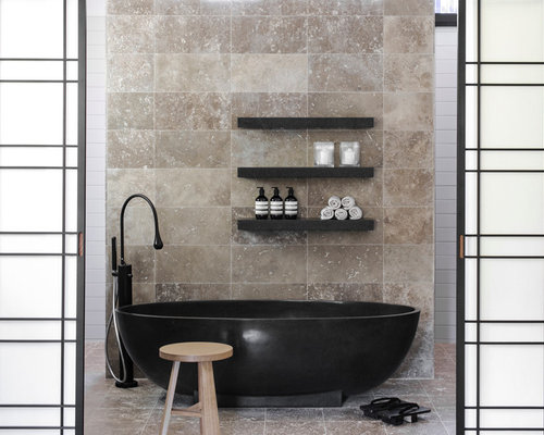 Bathroom travertine design houzz - Black and beige bathroom ...