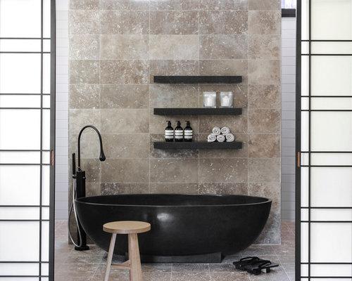 beige tile and travertine tile beige floor bathtub idea in sydney