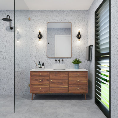 Transitional Bathroom by Jumble & Stack