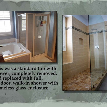 Before and after tub/shower conversion