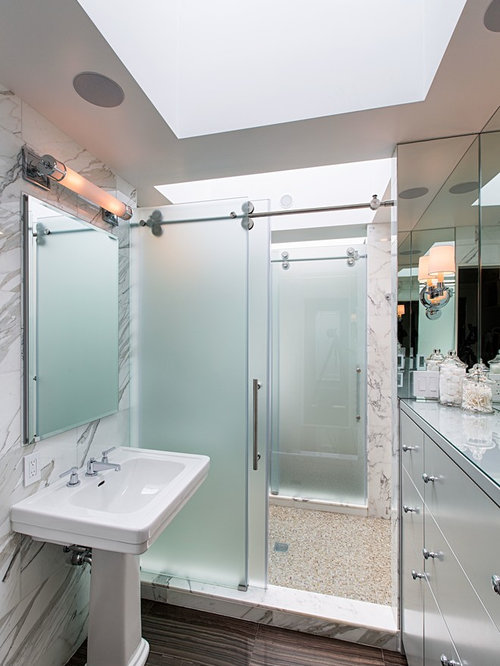 Inspiration For A Contemporary Bathroom Remodel In New York With A Pedestal  Sink, Flat