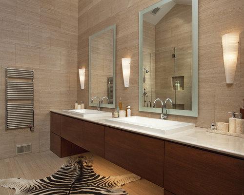 Inspiration For A Large Modern Master Beige Tile And Ceramic Porcelain Floor Bathroom Remodel In