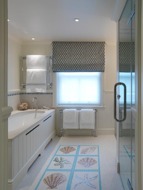 paris themed bathroom. Example of a coastal multicolored tile and mosaic bathroom design in  London with an undermount Paris Themed Bathroom Houzz
