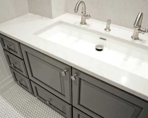 Bathroom Design Ideas Renovations Photos With A Trough Sink And Raised Panel Cabinets