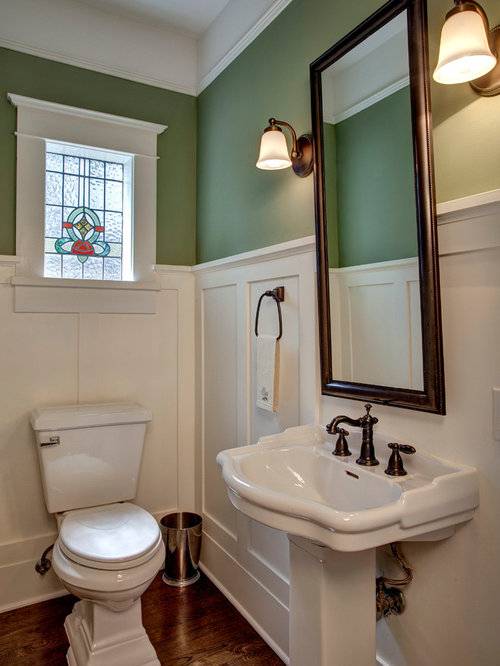 Inspiration For A Victorian Bathroom Remodel In Seattle With Pedestal Sink And Green Walls