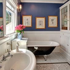 Craftsman Bathroom by Kathryn Tegreene Interior Design