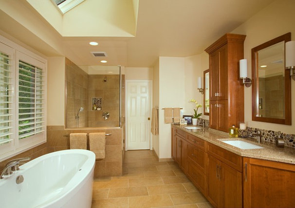 Contemporary Bathroom by Kayron Brewer, CKD, CBD / Studio K B