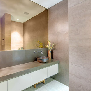 Contemporary bathroom in Sydney with flat-panel cabinets, white cabinets, gray tile, a vessel sink, grey floor and grey benchtops.