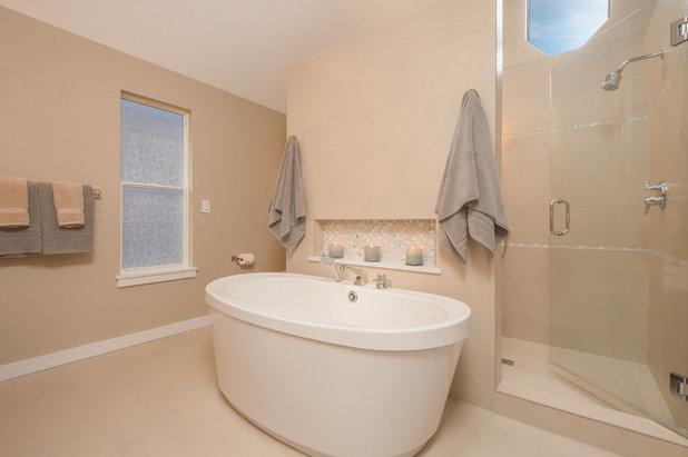 Transitional Bathroom by Kayron Brewer, CMKBD / Studio K B