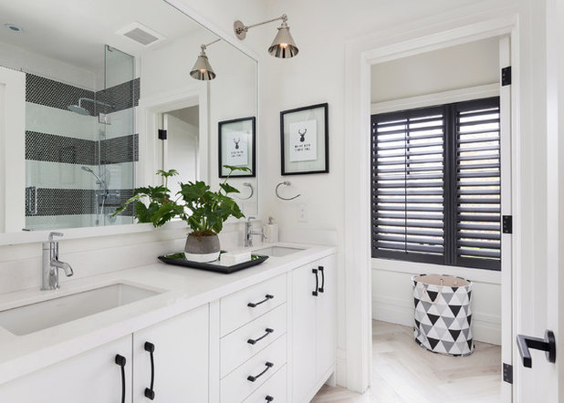 Cute Transitional Bathroom by LB Design