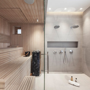 Design ideas for a medium sized contemporary bathroom in London with a hinged door.