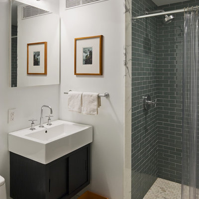 Inspiration for a mid-sized contemporary 3/4 glass tile marble floor and white floor bathroom remodel in New York with white walls and a wall-mount sink