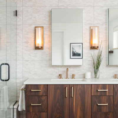 Large beach style master white tile and ceramic tile ceramic tile, black floor and double-sink bathroom photo in Denver with flat-panel cabinets, dark wood cabinets, a one-piece toilet, white walls, an undermount sink, quartz countertops, a hinged shower door, white countertops and a floating vanity