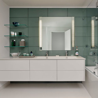 Inspiration For A Mid Sized Modern Master Gray Tile, Green Tile And Glass  Tile