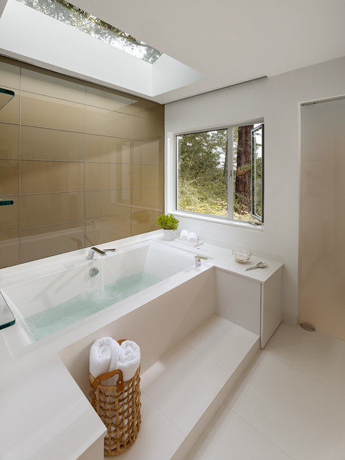 bathroom glass tile tub. Large contemporary master white tile and porcelain floor  bathroom idea in San Francisco with Glass Tile Tub Surround Houzz