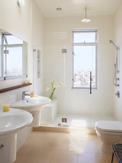 Example Of A Transitional Subway Tile Bathroom Design In San Francisco