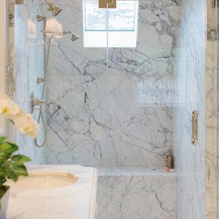 White Marble Shower Houzz