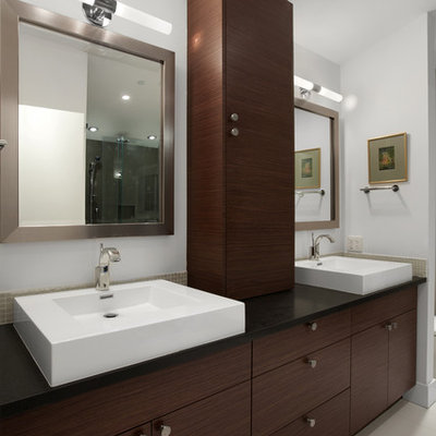 Example of a trendy bathroom design in Vancouver with a vessel sink