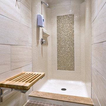 Bestbath low threshold shower faux tile shower drop in shower