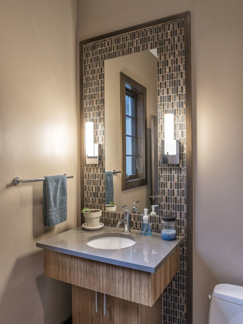 Inspiration For A Contemporary Multicolored Tile And Mosaic Bathroom Remodel In Other With An Undermount