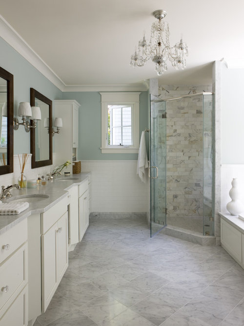 Elegant White Tile Gray Floor Corner Shower Photo In DC Metro With An  Undermount Sink,