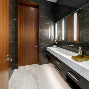 Bathroom - large contemporary 3/4 black tile gray floor and single-sink bathroom idea in Los Angeles with flat-panel cabinets, black cabinets, a trough sink, white countertops and a floating vanity