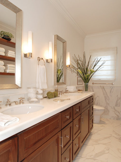 Bathroom   Traditional White Tile Bathroom Idea In Los Angeles With An  Undermount Sink, Recessed