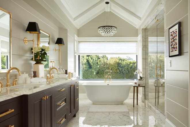 Transitional Bathroom by Lindsay Chambers Design