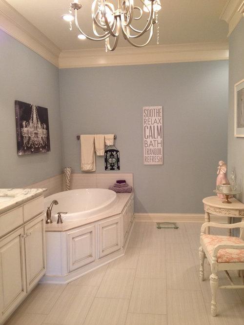 Salles de bains et wc romantiques avec un plan de toilette en granite photos et id es d co de - Carrelage salle de bain romantique ...